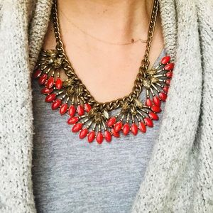 Stella & Dot Coral Kay Statement Necklace